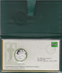 St. Patrick's Day Commemorative Cachet Medal and First Day Cover   (Franklin Mint, 1972-1979)
