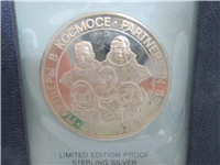 Partners In Space Apollo Soyuz Joint Mission Silver Medal and First Day Cover (Franklin Mint, 1975)