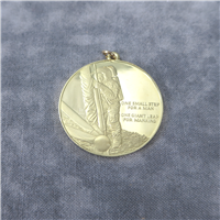 The First Step on the Moon 18KT Gold Eyewitness Pendant    (Franklin Mint, 1969)