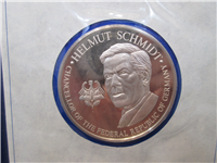 Official Bicentennial Visit Medal Honoring Helmut Schmidt, Chancellor of Germany (Franklin Mint, 1976)