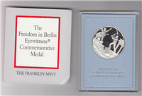 Franklin Mint  The Freedom In Berlin Eyewitness Commemorative Medal finish in 24 karat gold elactroplate