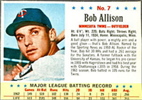 1963 Post Cereal Baseball Card  #7  Bob Allison