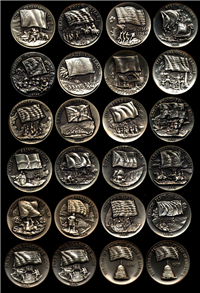 National Flags Foundation 1st Edition Sterling Silver Medals Collection  (Wittnauer Mint, 1969)
