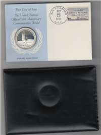 The United Nations Official 25th Anniversary Commemorative First Day Cover and Medal  (Franklin Mint, 1970)