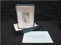 Father's Day 1000 Grains Proof Ingot With Lucite Display  (Franklin Mint, 1972)