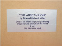 THE AFRICAN LION by Donald Richard Miller Silver Wall Sculpture  (Franklin Mint, 1977)