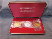 The United States Bicentennial Three Medals Set (Silver Mint, Sterling and Bronze)