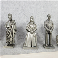 KINGS & QUEENS OF ENGLAND Fine Pewter 2-1/2 inch Statues (Franklin Mint, 1978)
