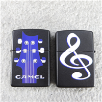 CAMEL DOUBLE SIDED GUITAR & TREBLE CLEF Matte Black Lighter (Zippo, 1995)