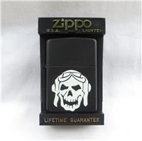 SKULL WITH PILOT HELMET & GOGGLES Black Matte Lighter (Zippo, 1995)