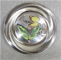 Butterflies of the World AUSTRALIA Limoges Enamel on Sterling Silver 8 inch Plate (Franklin Mint, 1977)