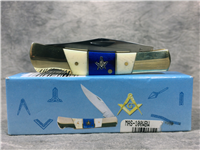 FROST Masonic MAS-100WBW White & Blue Bone Lockback Barracuda Knife