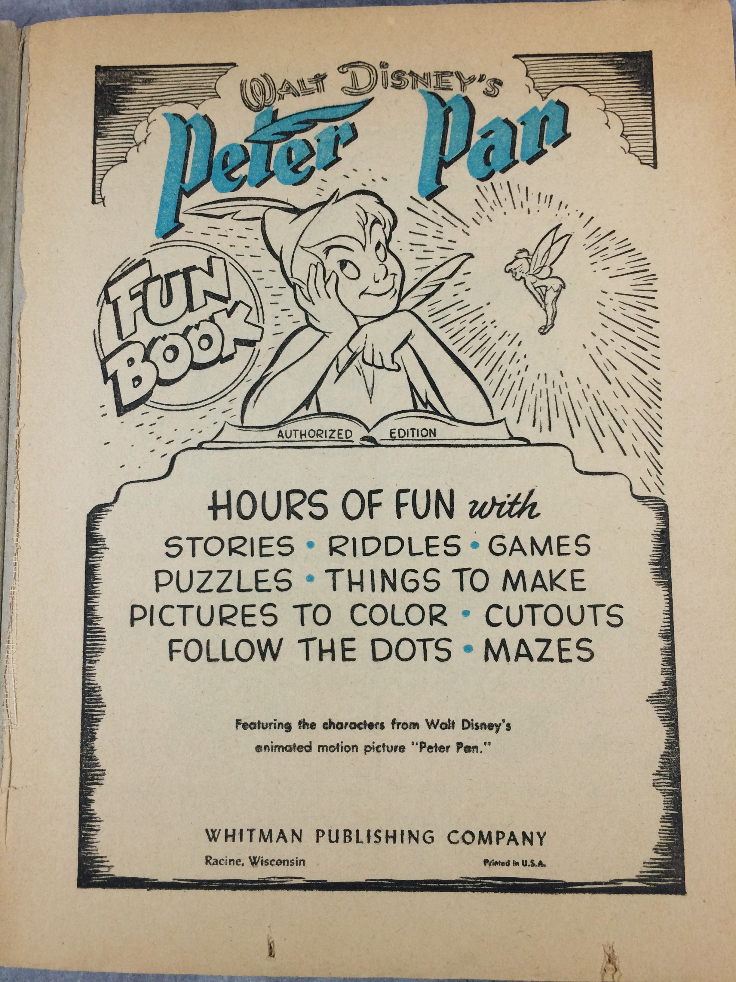 Vintage PETER PAN FUN BOOK Activity & Coloring Book (Disney ...