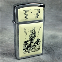 SHIP & WHALE SCRIMSHAW Polished Chrome Ultralite Slim Lighter (Zippo, 1993) New Sealed