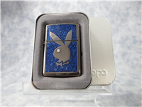 Swarovski PLAYBOY BLUE GLITTER EMBLEM Black Ice Lighter (Zippo, 20636, 2004)