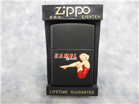 KAMEL (Camel) CIGARETTES PINUP GIRL Black Matte Lighter (Zippo, Z280, 1996)