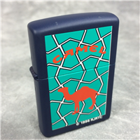CAMEL STAINED GLASS Navy Blue Matte over Brass Lighter (Zippo CZ099, 1996)