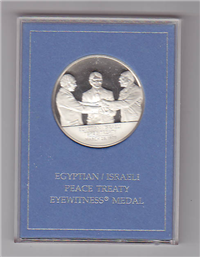 Egyptian Israeli Peace Treaty Eyewitness Medal   (Franklin Mint, 1979)