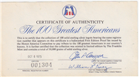 The Honor America Committee 100 Greatest Americans Ingots Collection  (Franklin Mint, 1977)