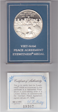 Franklin Mint  Viet-Nam Peace Agreement Eyewitness Medal (Sterling)