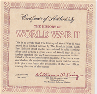 The History of World War II Commemorative Medallic First Day Covers (Franklin Mintm 1979)
